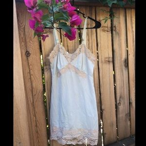 Pale blue and cream lace vintage 60s slip